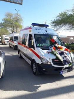 پیکر نیروی فداکار اورژانس اندیکا توسط پرسنل بهداشت و درمان تحویل خانواده آن مرحوم گردید + تصاویر