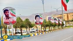 تمثال تعدادی از شهدای جنگ و انقلاب اسلامی در بلوار ورودی شهر مسجدسلیمان نقش بست